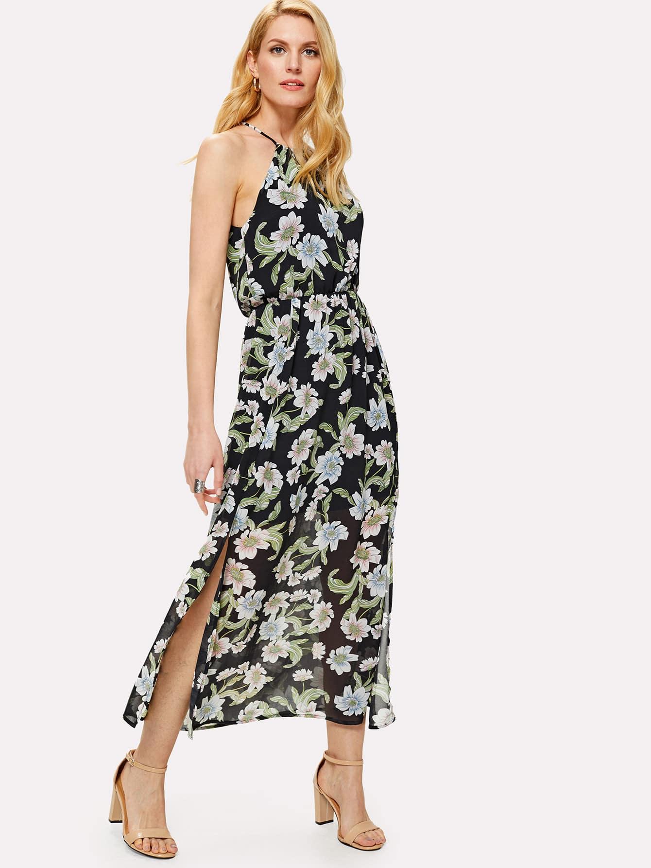 Split Side Halter Neck Floral Dress floral print split side dress