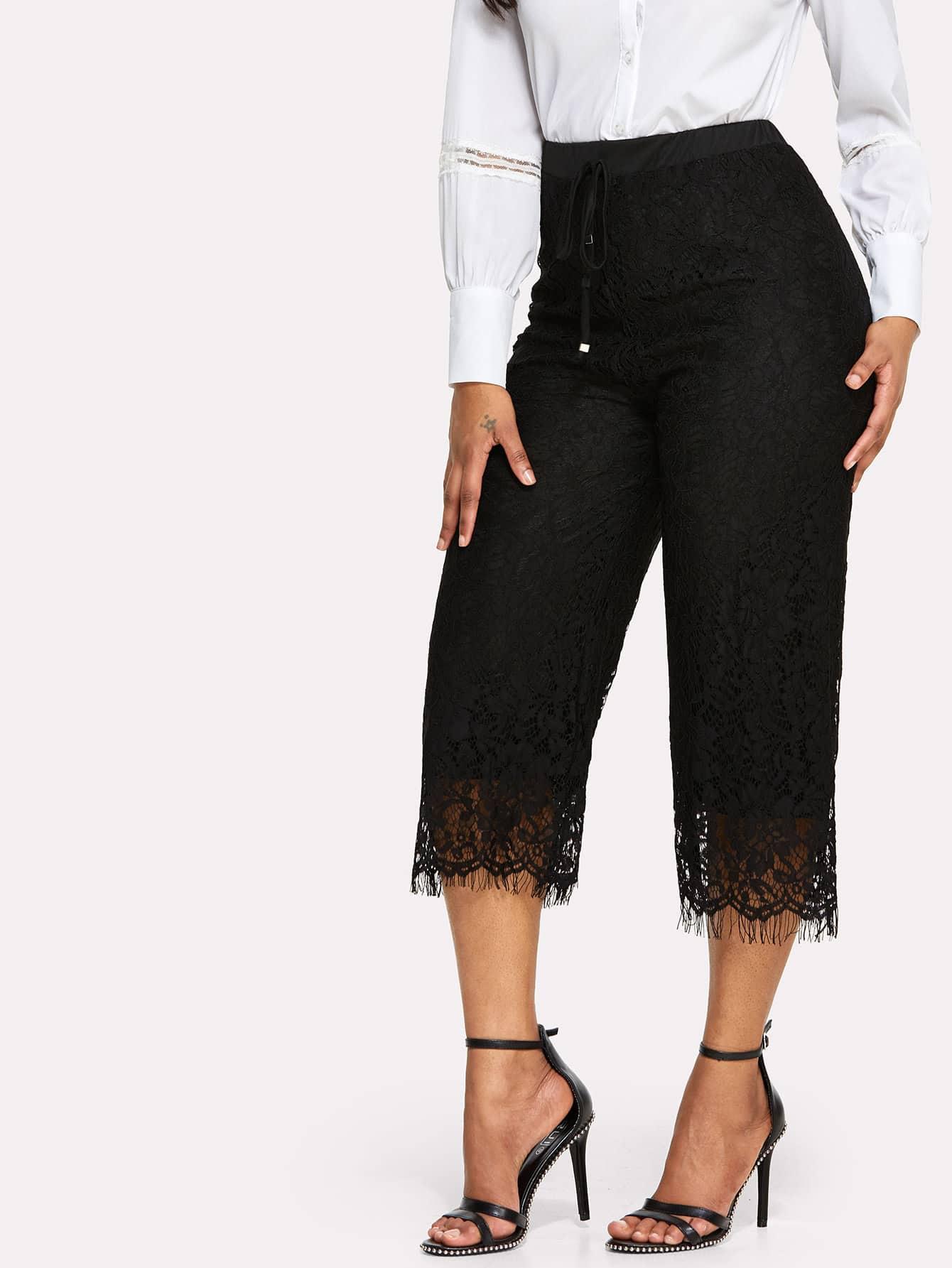Eyelash Lace Drawstring Waist Wide Leg Pants drawstring waist tapered leg jogger