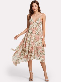 Double Strap Layered Floral Dress