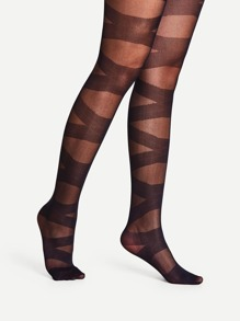 Criss Cross Pattern Pantyhose Stockings