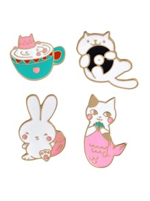 Cartoon Cat Pin Set 4pcs