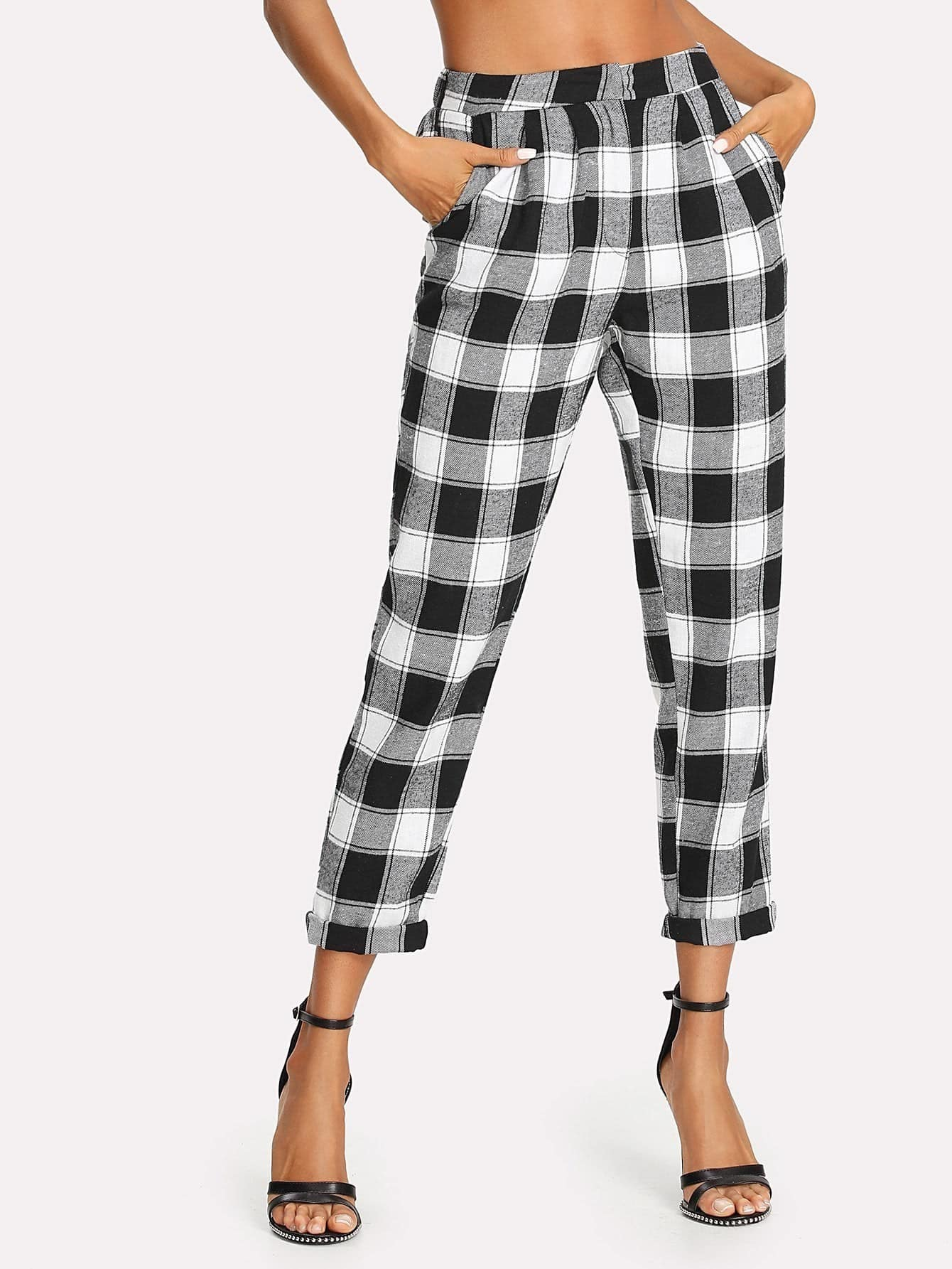 Zip Up Tapered Plaid Pants zip up side plaid dress