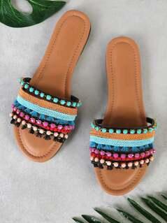 Multi Tone Embellished Strappy Thong Sandal BLACK