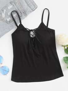 Lace Up Cut Out Cami Top
