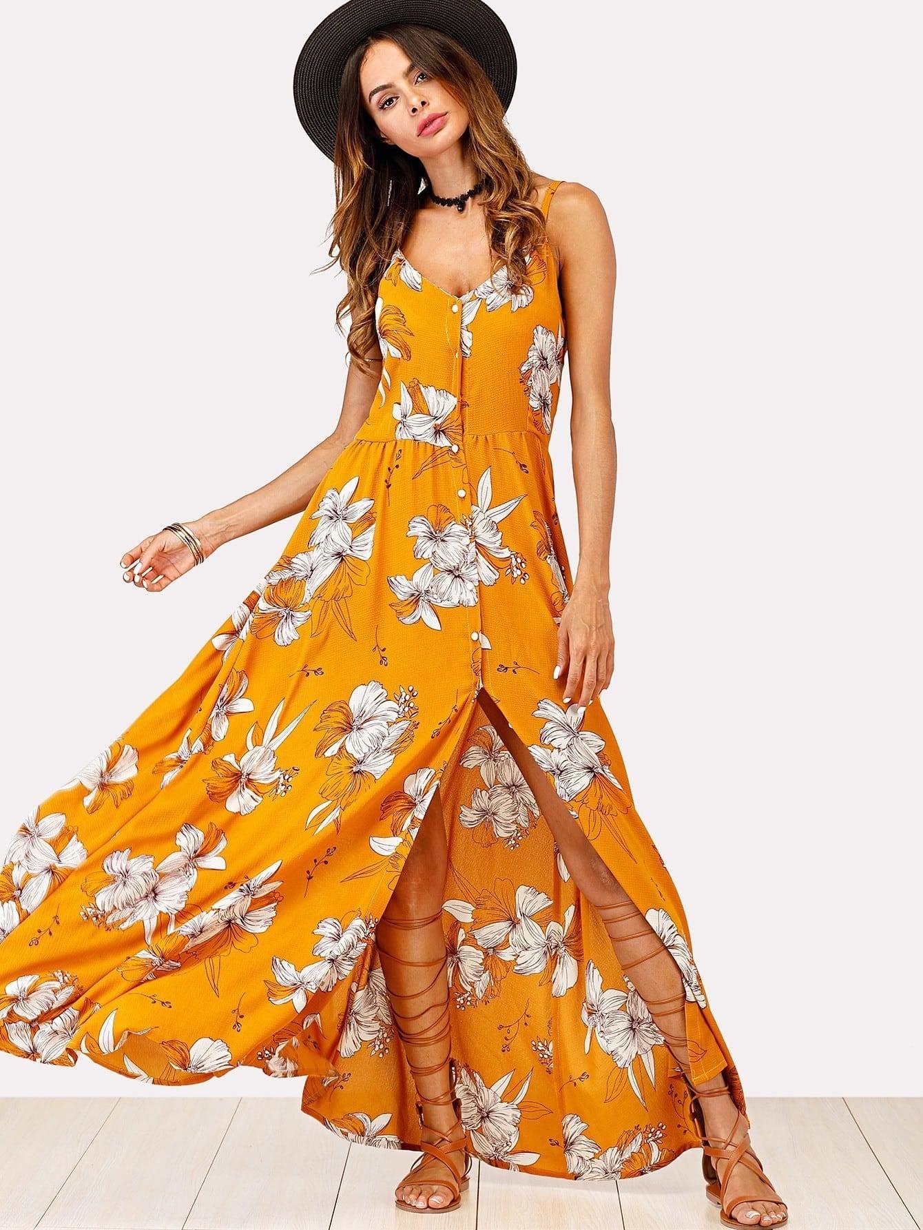 Faux Pearl Detail Florals Cami Dress asymmetrical hem faux pearl detail dress