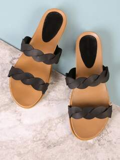 Twisted Double Band Slide Sandal BLACK