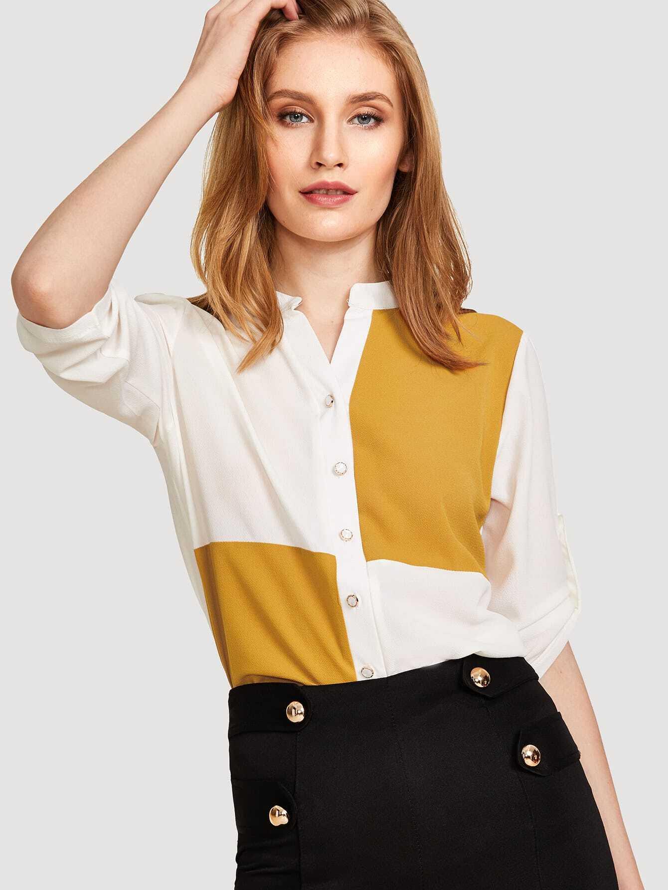 Купить Рубашка с вырезом на спине, Yanab, SheIn