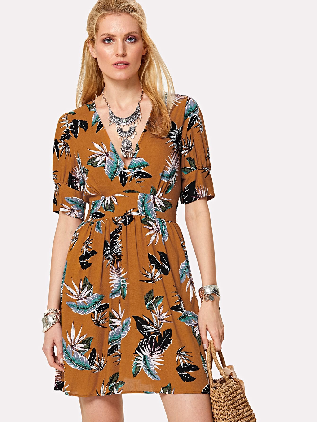 Double V Neck Wide Waistband Tropical Dress tops dress girls dresses girl clothes autumn style fashion cowboy vest 2017 new 2 pieces set