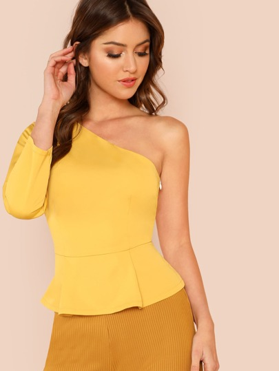 One Shoulder Tie Waist Top