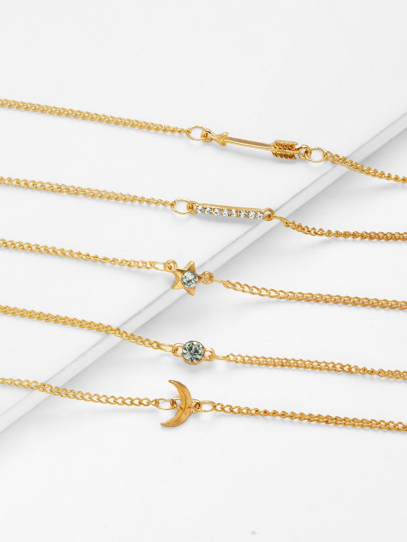 Moon & Star Design Link Bracelet Set With Rhinestone все цены