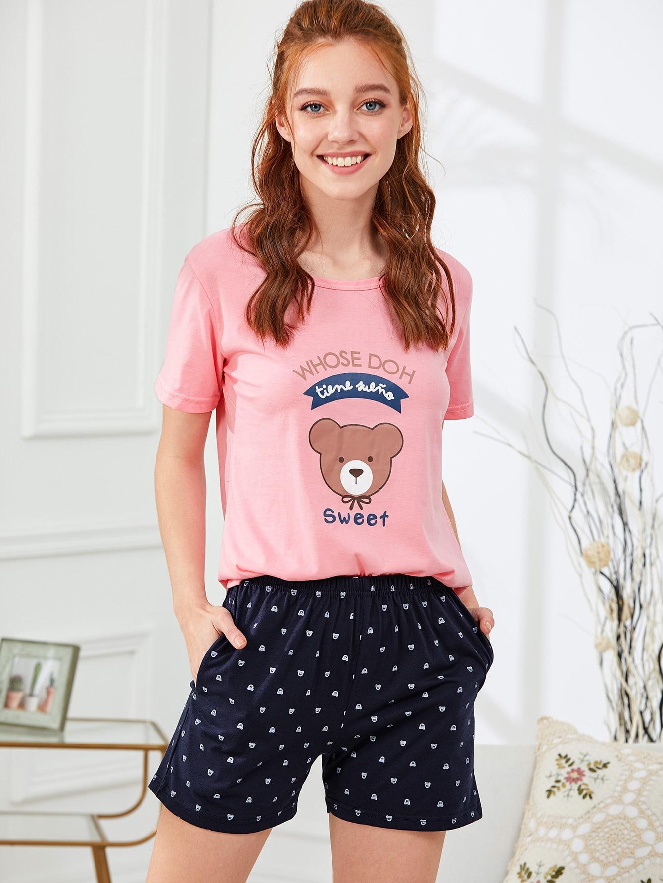 Контрастный комплект пижамы футболка и шорты