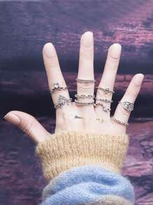 Multi Shaped Design Ring Set