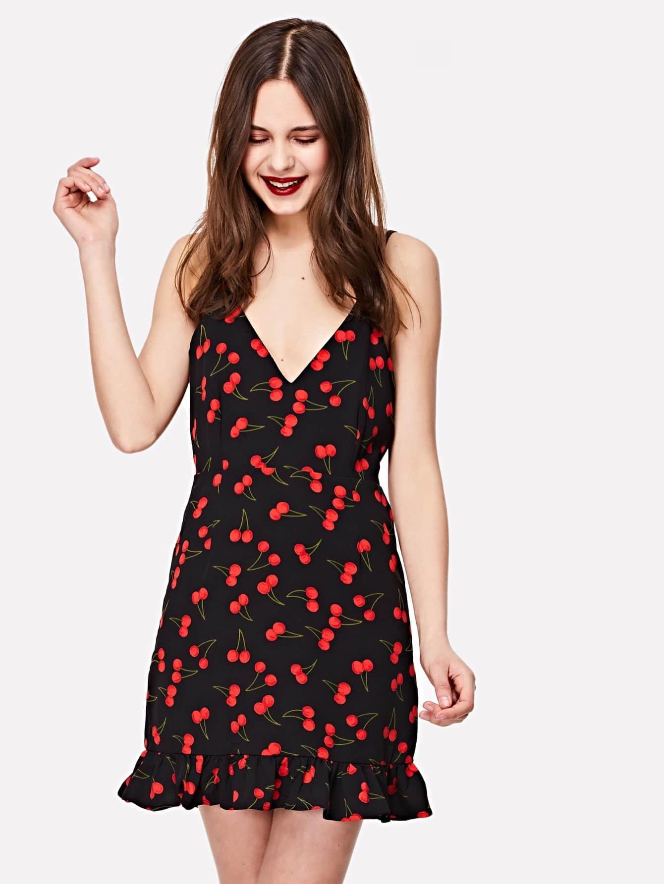 Купить Платье с оборками вишни и открытой спиной, Soni, SheIn