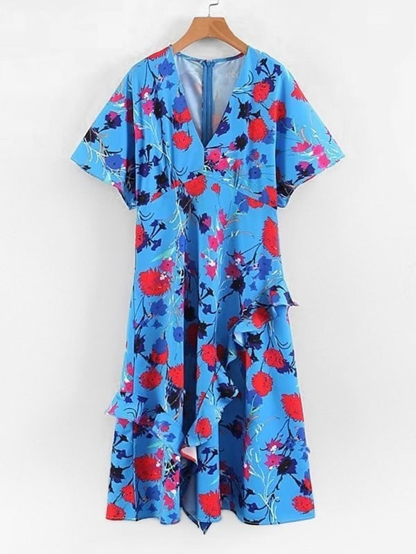All Over Florals Ruffle Dress all over florals ruffle hem wrap dress
