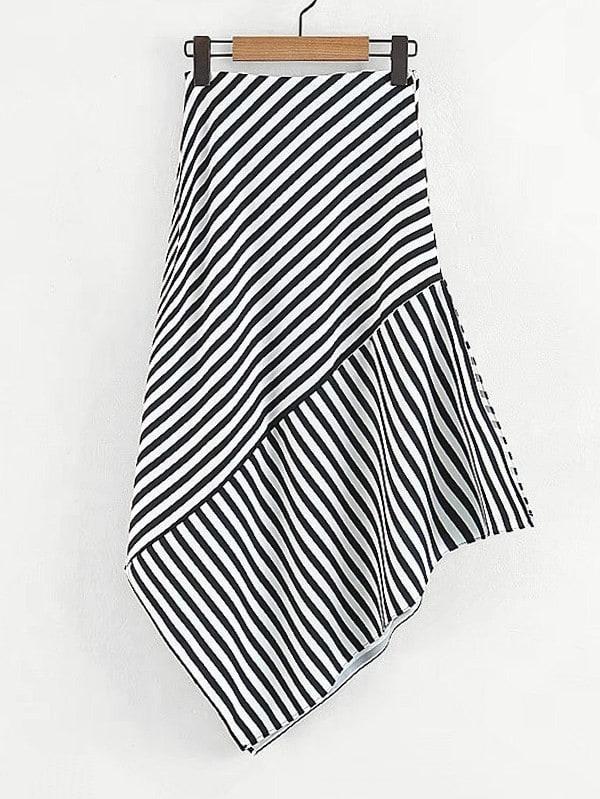 Contrast Striped Asymmetric Skirt multi striped skirt