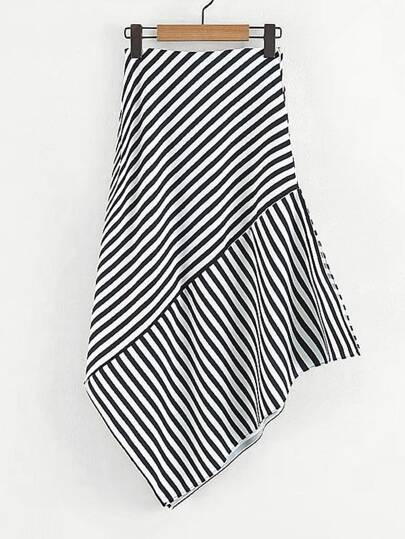 Contrast Striped Asymmetric Skirt