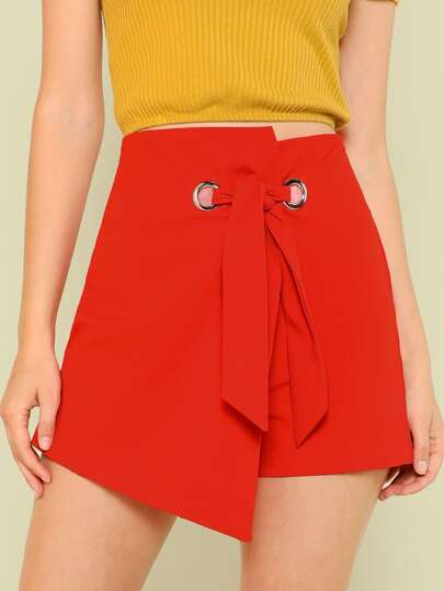 Asymmetrical Grommet Tie Waist Wrap Shorts RED