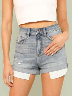 Medium Washed Distressed Denim Shorts BLUE