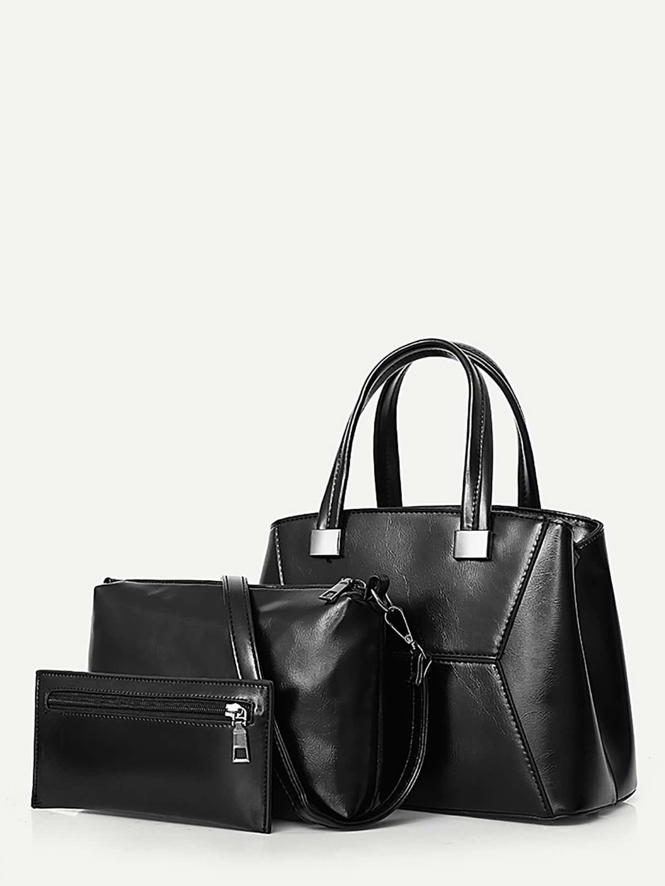Faux Leather Grab Bag 3Pcs