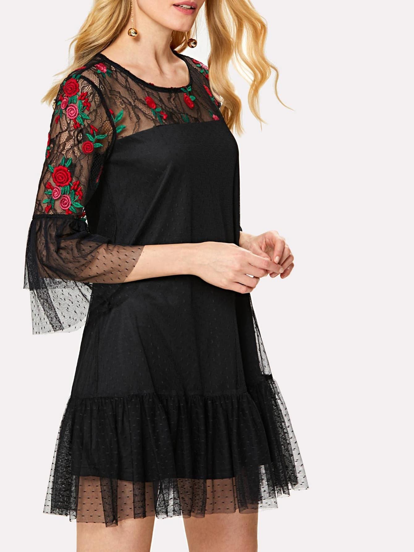 Floral Embroidered Yoke Ruffle Trim Mesh Overlay Dress ruffle mesh panel dress