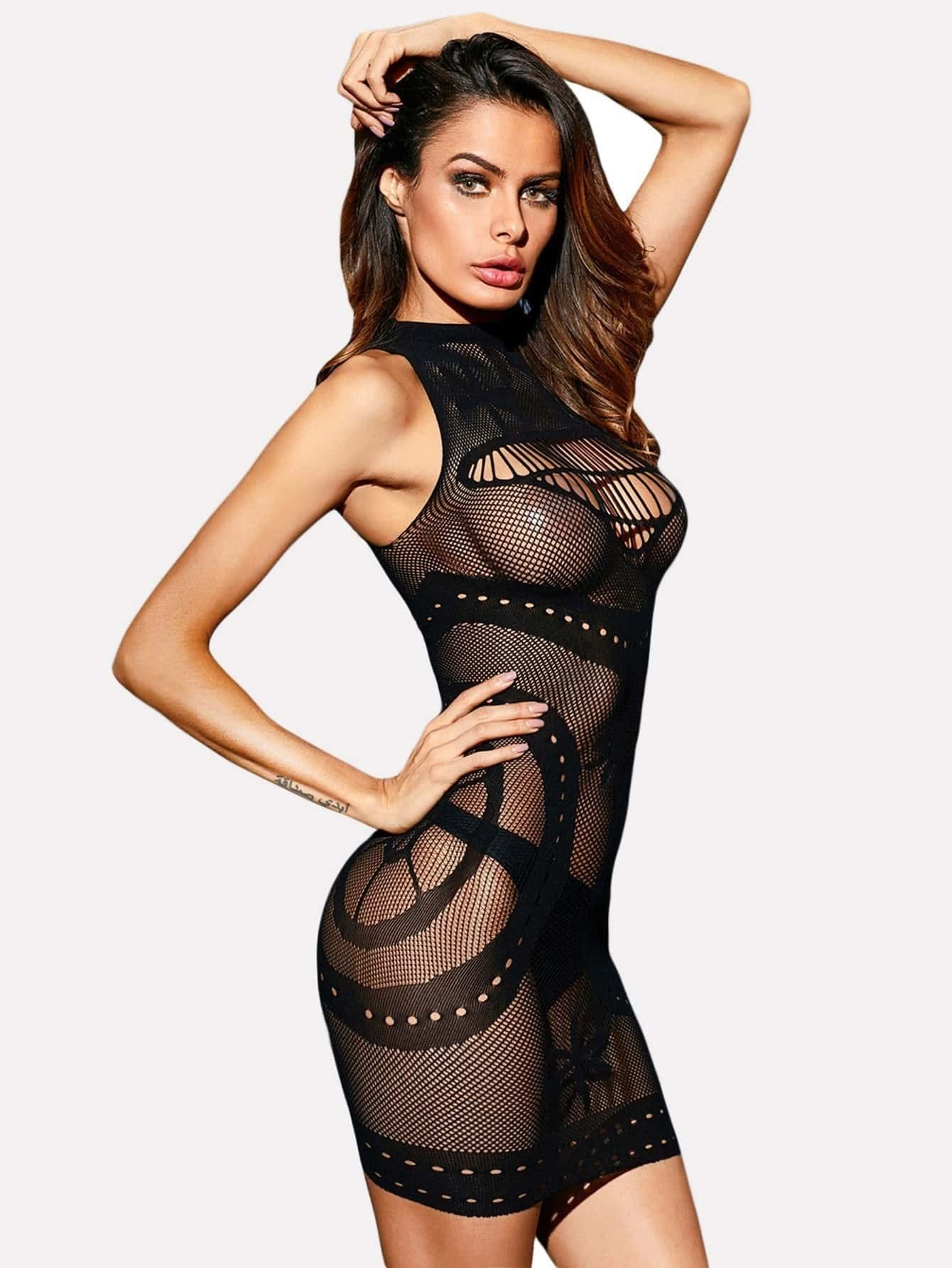 High Neck Net Mini Dress