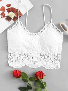 Lace Zip Up Back Cami Top