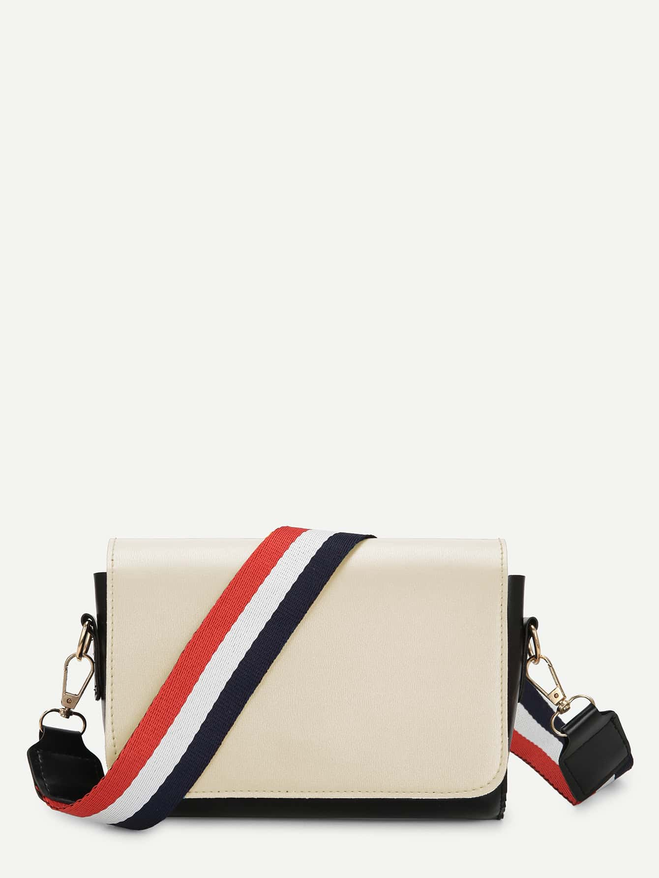 Two Tone Flap Shoulder Bag With Striped Strap drop shoulder two tone sleeve striped tee