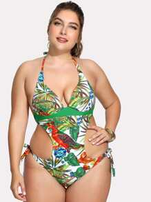 Tropical Print Backless Swimsuit