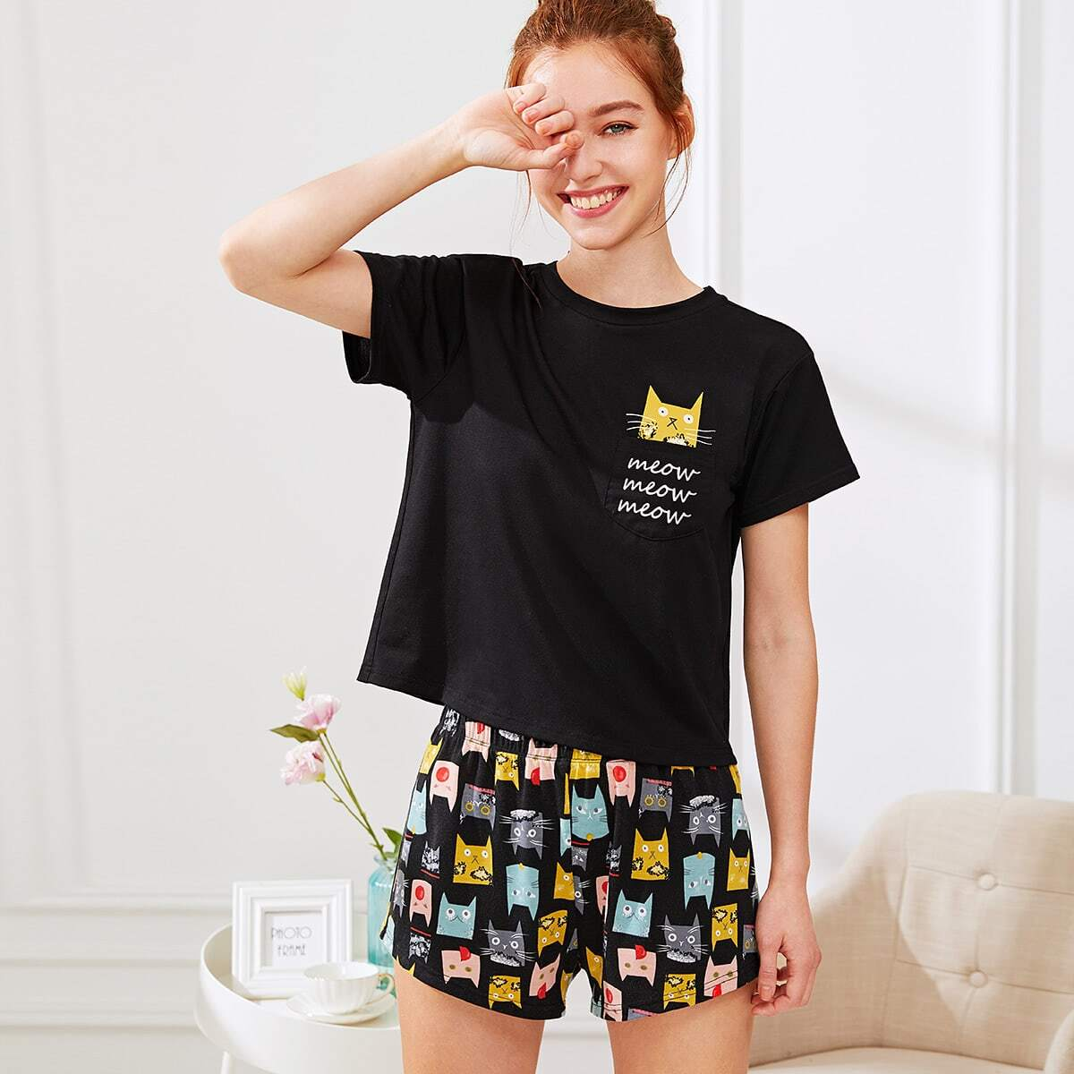 Cat Print Tee & Shorts PJ Set