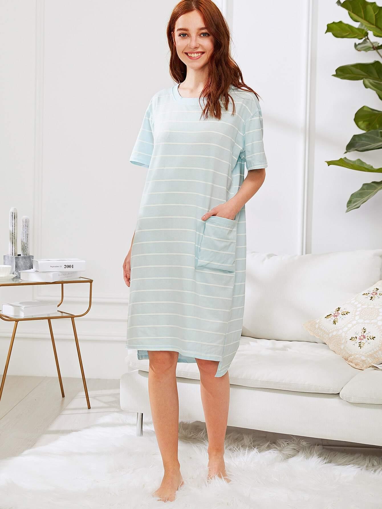 Pocket Front Stripe Nightdress exmork 100 вт 12 в poly si