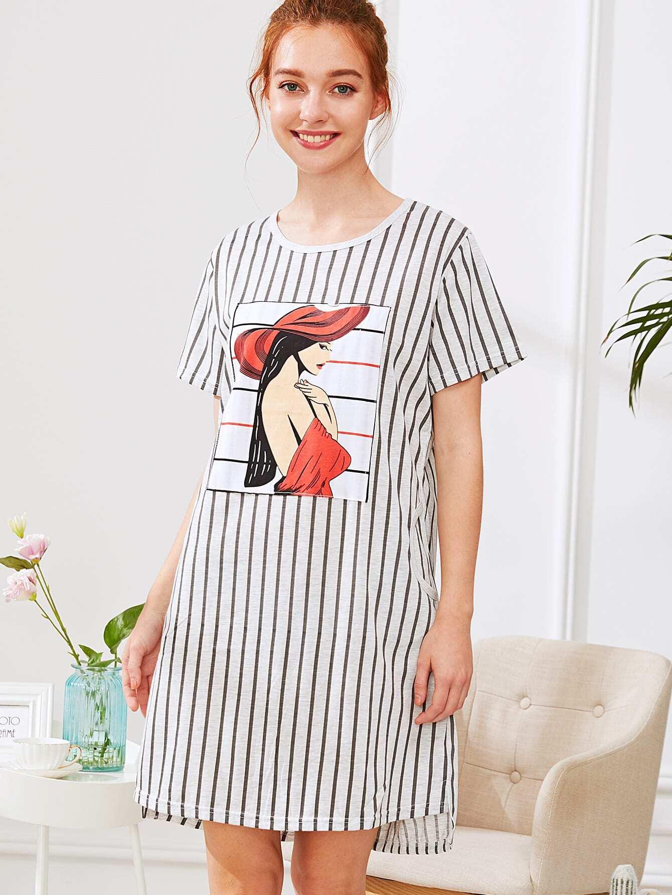 Girl Print Striped Dress exmork 100 вт 12 в poly si