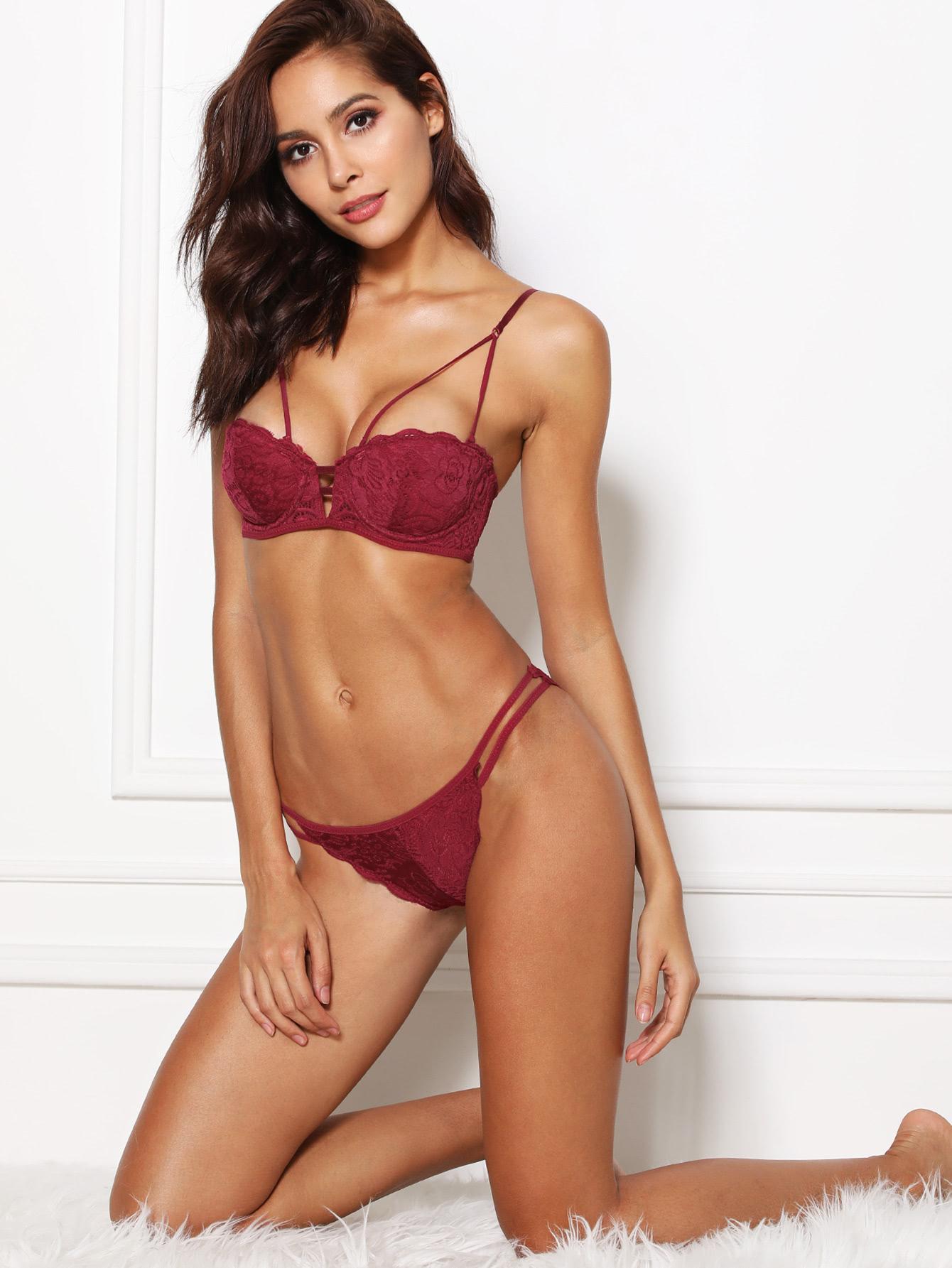 Half Cup Lace Lingerie Set lingerie180312473