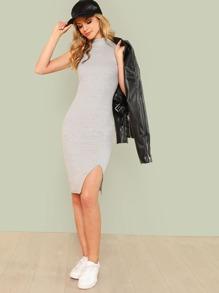 Split Front Rib Knit Fitted Dress