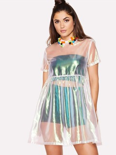 Pom Pom Collar Metallic Smock Dress