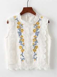 Crochet Trim Embroidered Top
