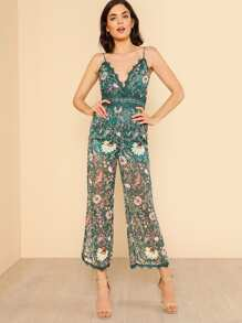 Lace Insert Wide Leg See Through Floral Cami Jumpsuit