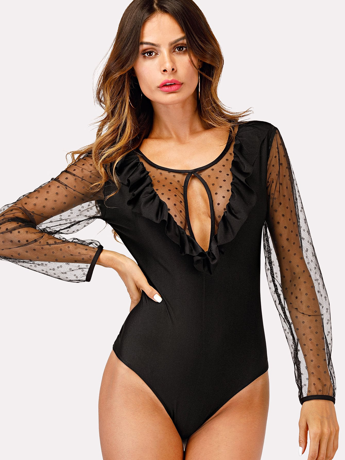 Sheer Mesh Panel Ruffle Trim Bodysuit