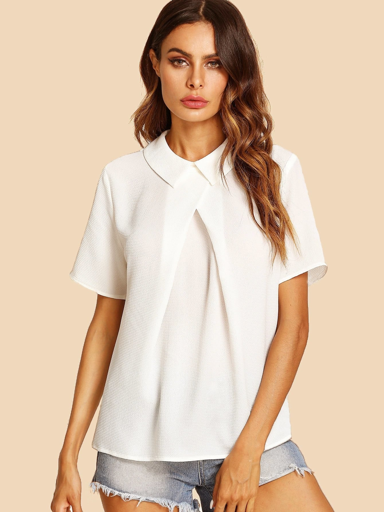 Overlap Fold Detail Top pearl detail layered frill sleeve top