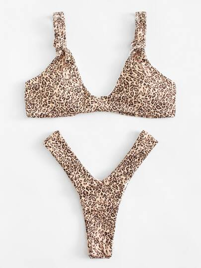 Leopard High Leg Bikini Set