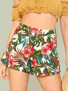 Tropical Print Shorts CREAM FUCHSIA