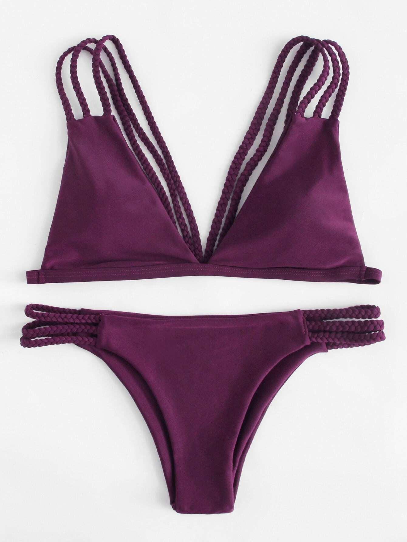 Фото Braided Straps Bikini Set checker knot bikini set
