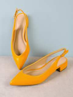 Pointy Toe Sling Back Pump DARK YELLOW