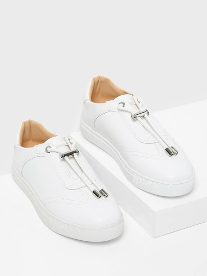 Round Toe Low Top PU Sneakers