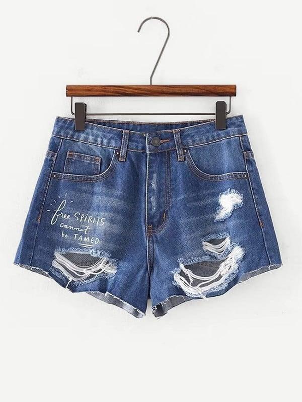 Купить Письмо Печать Разрушенные джинсовые шорты, null, SheIn