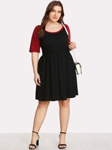 Contrast Raglan Sleeve Skater Dress
