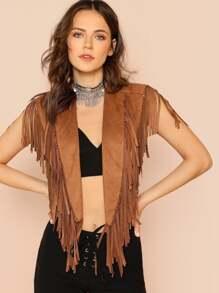 Shawl Collar Crop Fringe Vest