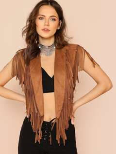 Shawl Collar Crop Fringe Vest