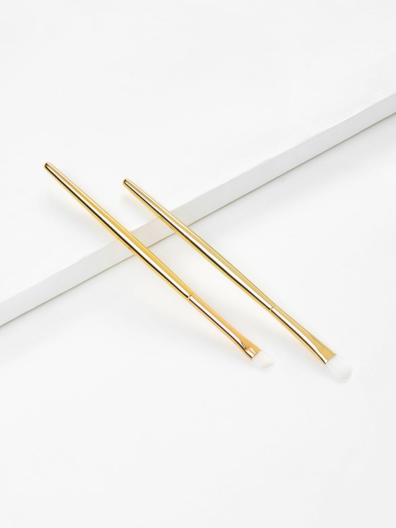 Metallic Handle Professional Makeup Brush Set 2Pcs metallic woven belt 2pcs