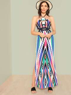 Halter Strap Cut Out Maxi Dress JADE MULTI