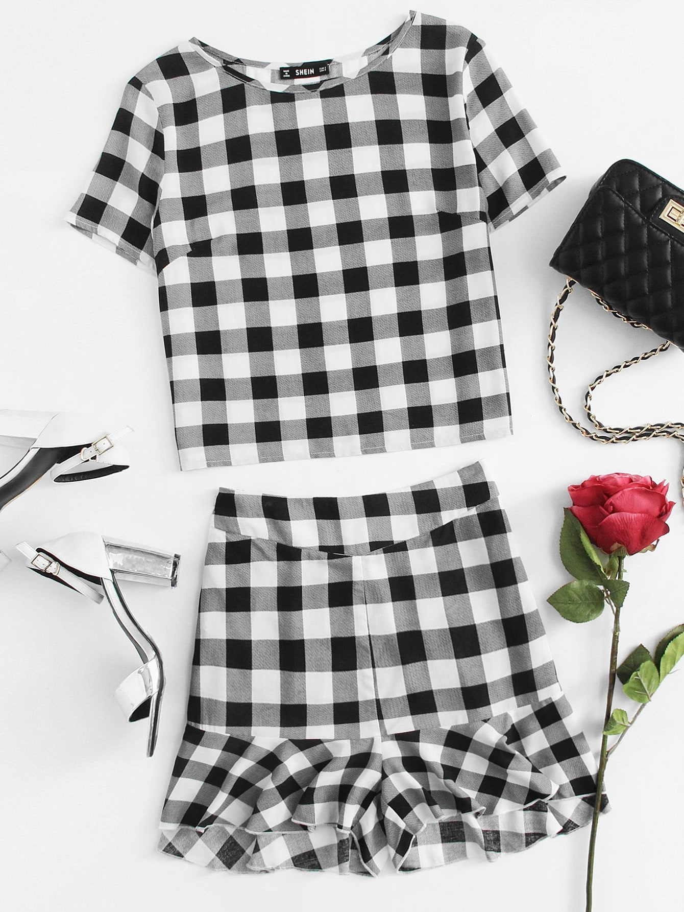 Plaid Print Tee And Ruffle Trim Shorts Set lace trim tee with shorts